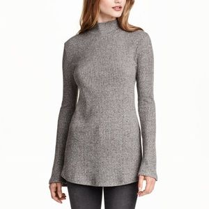 H&M Bell Sleeve Ribbed Turtleneck Sweater Grey